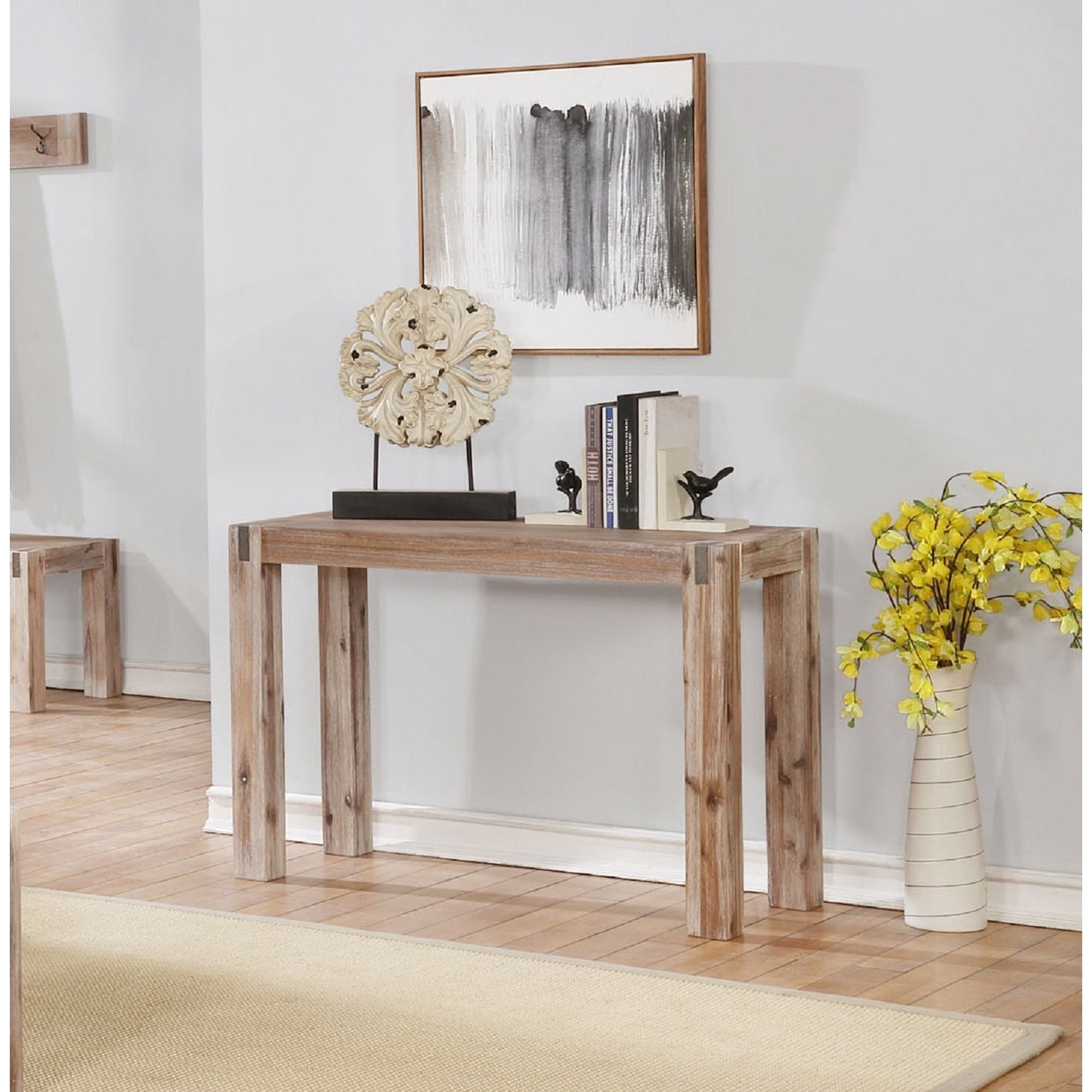 Shop Woodstock Acacia Wood With Metal Inset Media Console Table In Gunmetal Media Console Tables (View 14 of 30)