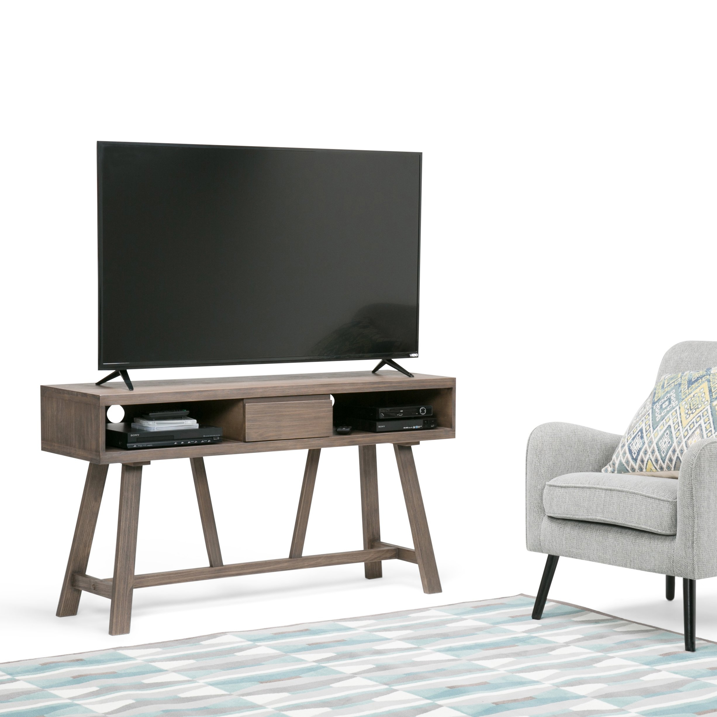 Shop Wyndenhall Stewart Solid Wood 54 Inch Tv Media Stand For Tvs Up intended for Canyon 54 Inch Tv Stands (Image 25 of 30)