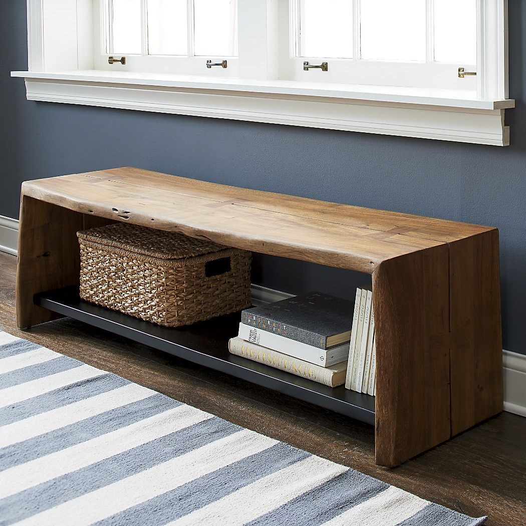 Shop Yukon Entryway Bench With Shelf. Slabs Of Live-Edge Acacia Wood intended for Yukon Grey Console Tables (Image 22 of 30)