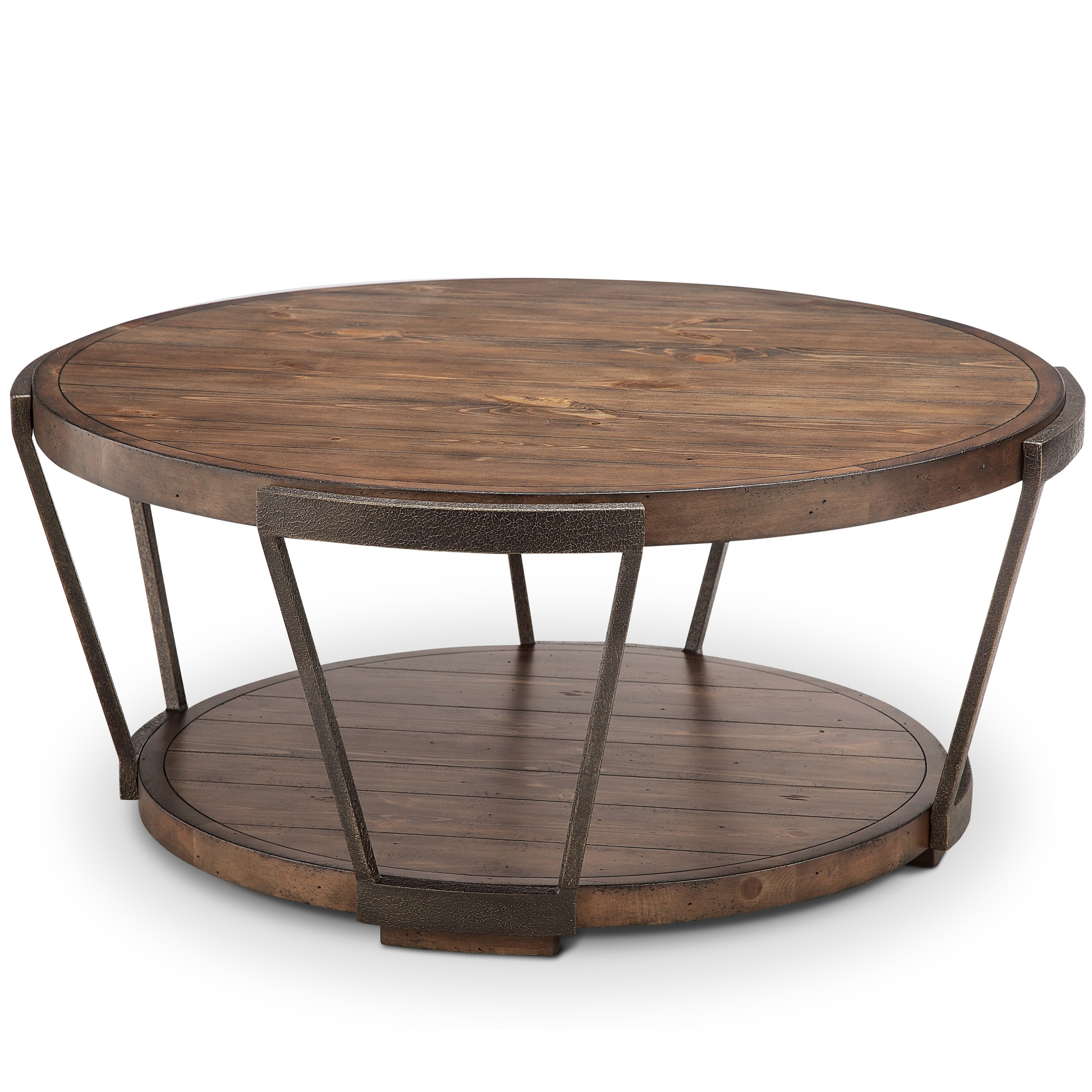 Shop Yukon Industrial Bourbon And Aged Iron Round Coffee Table With with Yukon Grey Console Tables (Image 23 of 30)