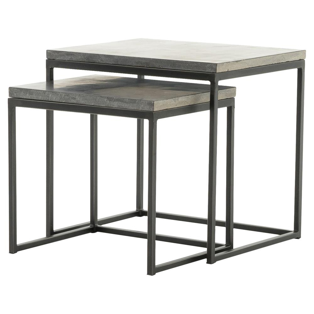 Shuler Industrial Loft Iron Bluestone Nesting End Tables | Kathy Kuo throughout Oak & Brass Stacking Media Console Tables (Image 22 of 30)