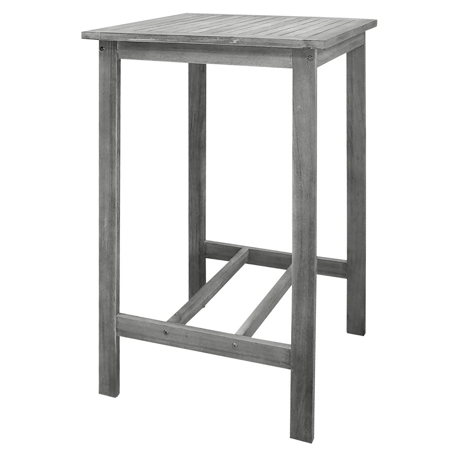Siesta Gray Outdoor Hand Scraped Wood Bar Table | Products Regarding Parsons White Marble Top & Dark Steel Base 48x16 Console Tables (View 17 of 30)