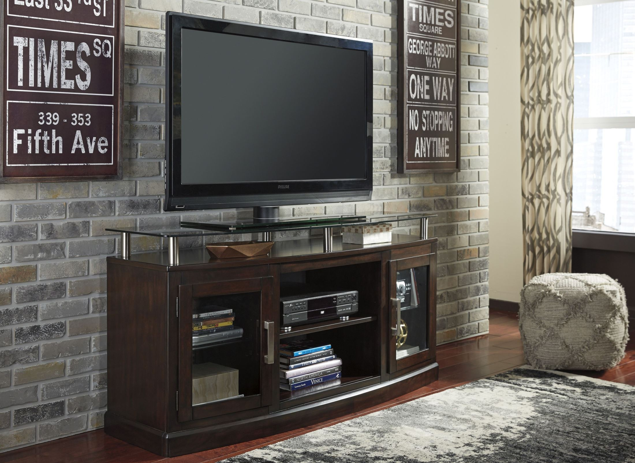 Signature Designashley Chanceen Dark Brown Medium Tv Stand with regard to Abbot 60 Inch Tv Stands (Image 25 of 30)