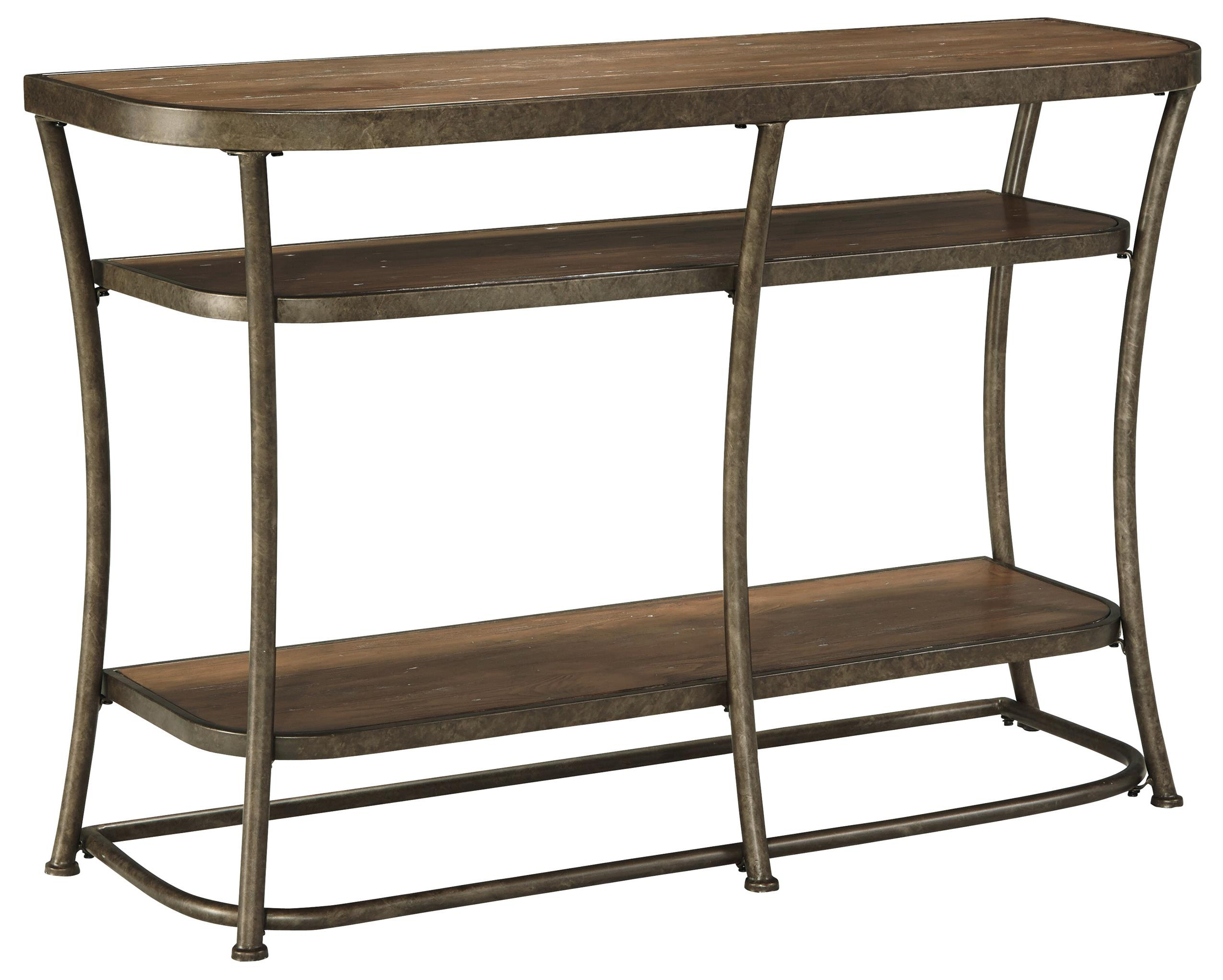 Signature Designashley Nartina T805 4 Rustic Metal Frame Sofa For Frame Console Tables (View 24 of 30)