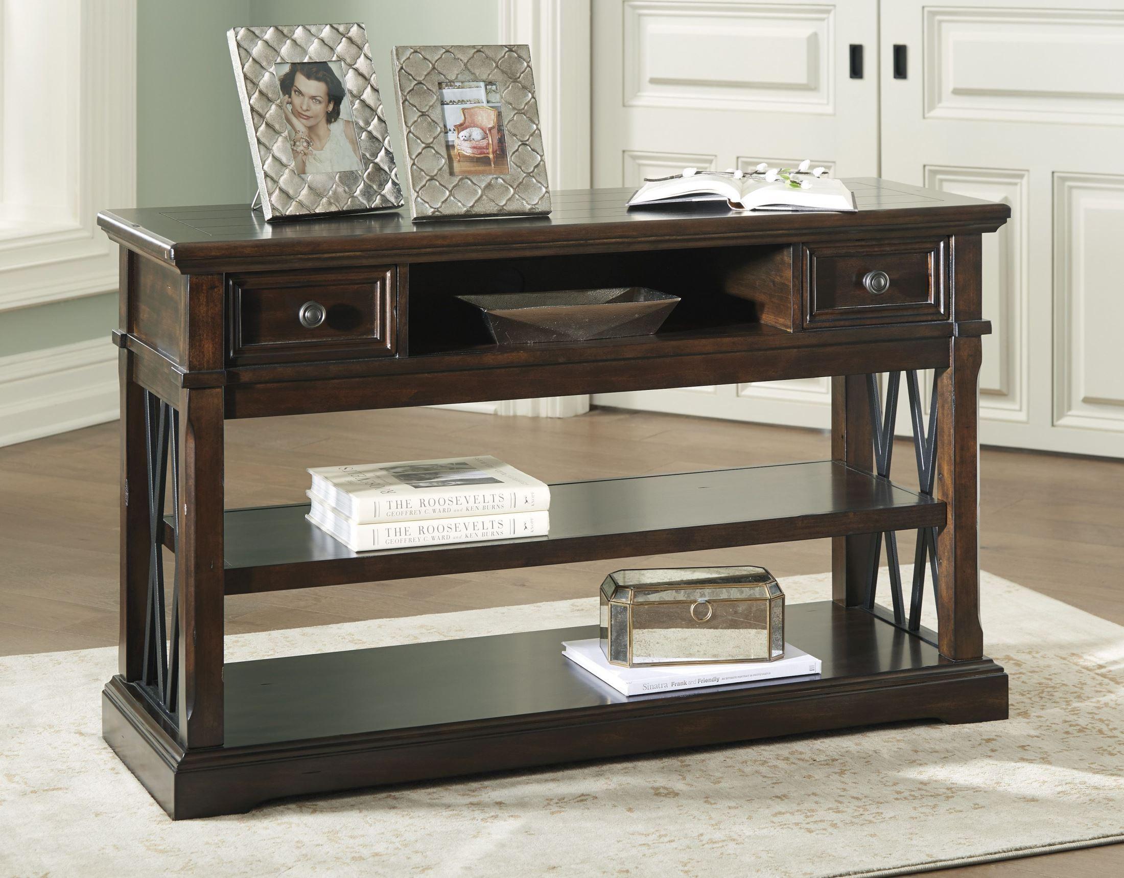 Signature Designashley Roddinton Dark Brown Sofa Table throughout Walters Media Console Tables (Image 21 of 30)