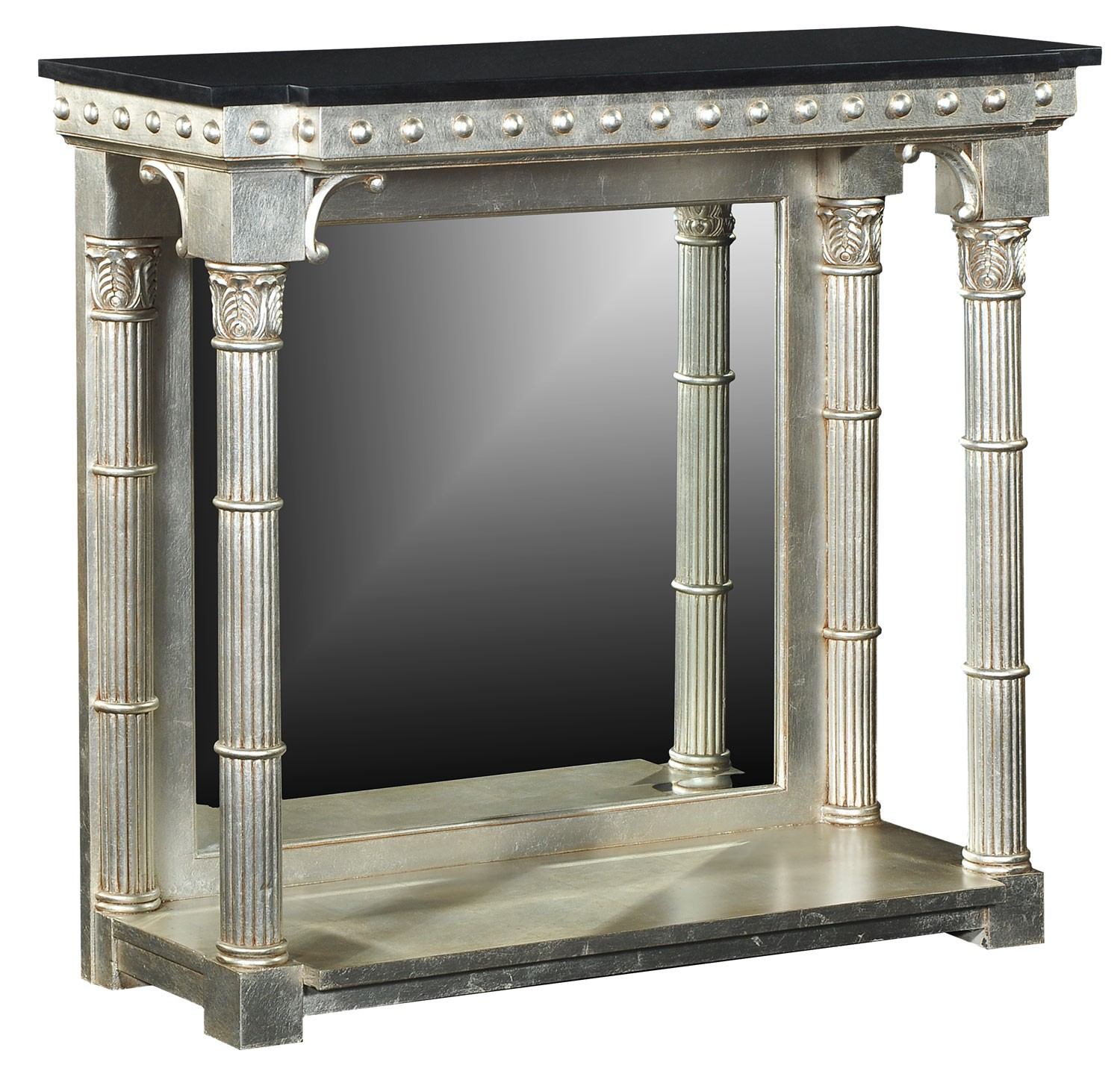 Silver Console Table With Black Granite Top, Console / Hall Tables Regarding Roman Metal Top Console Tables (View 19 of 30)