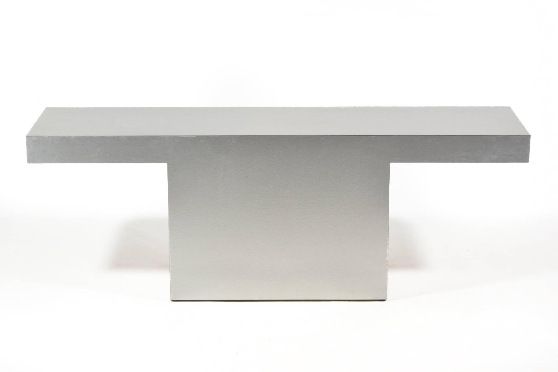 Silver Minimalist Console Table For Sale At 1stdibs In Era Limestone Console Tables (View 22 of 30)