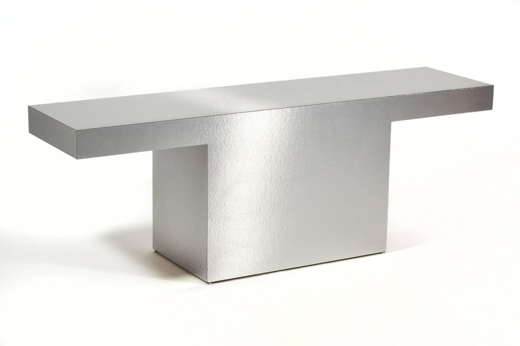 Silver Minimalist Console Table For Sale At 1stdibs With Era Limestone Console Tables (View 12 of 30)