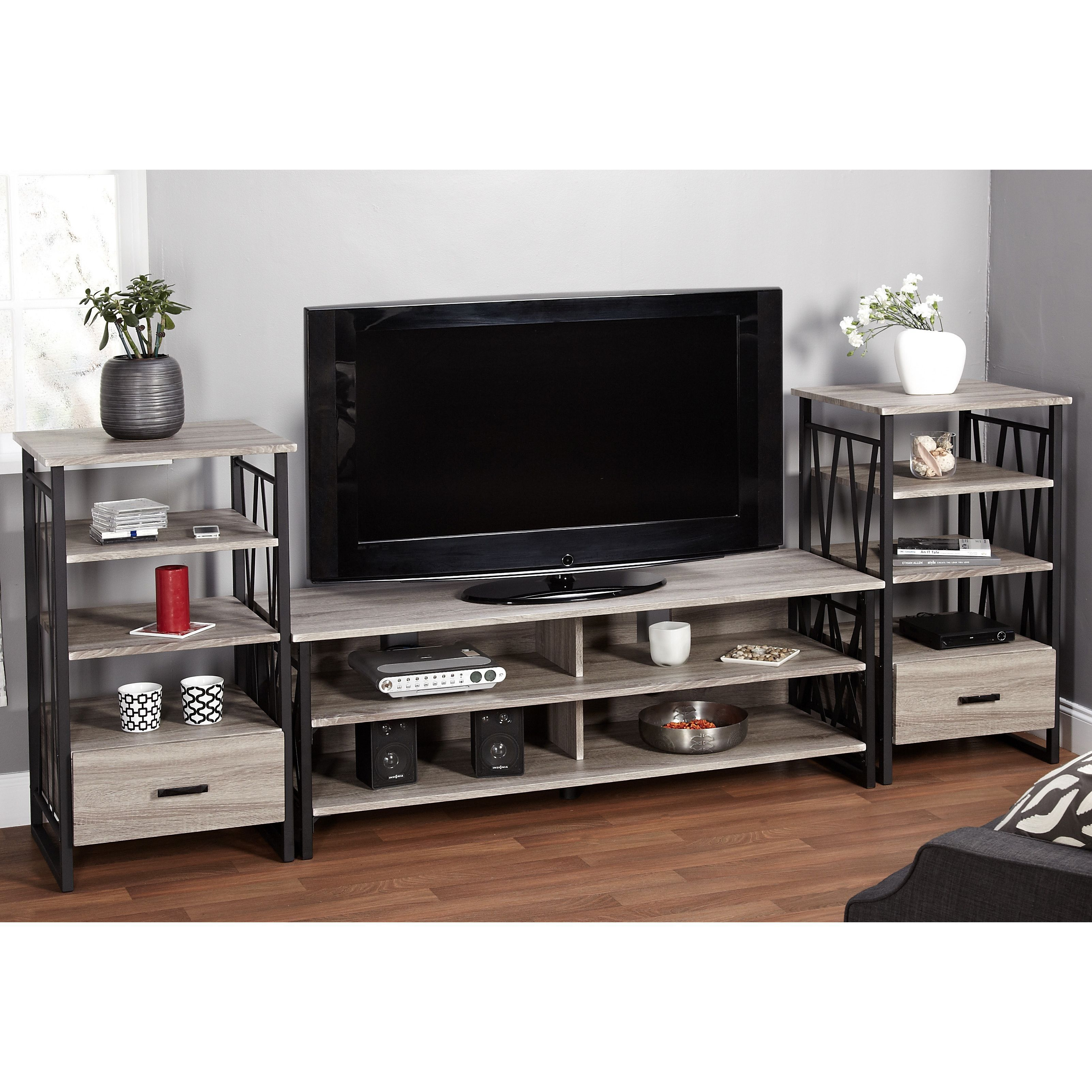Simple Living Seneca Black/ Grey Reclaimed Look 60 Inch Tv Stand For Abbott Driftwood 60 Inch Tv Stands (View 7 of 30)