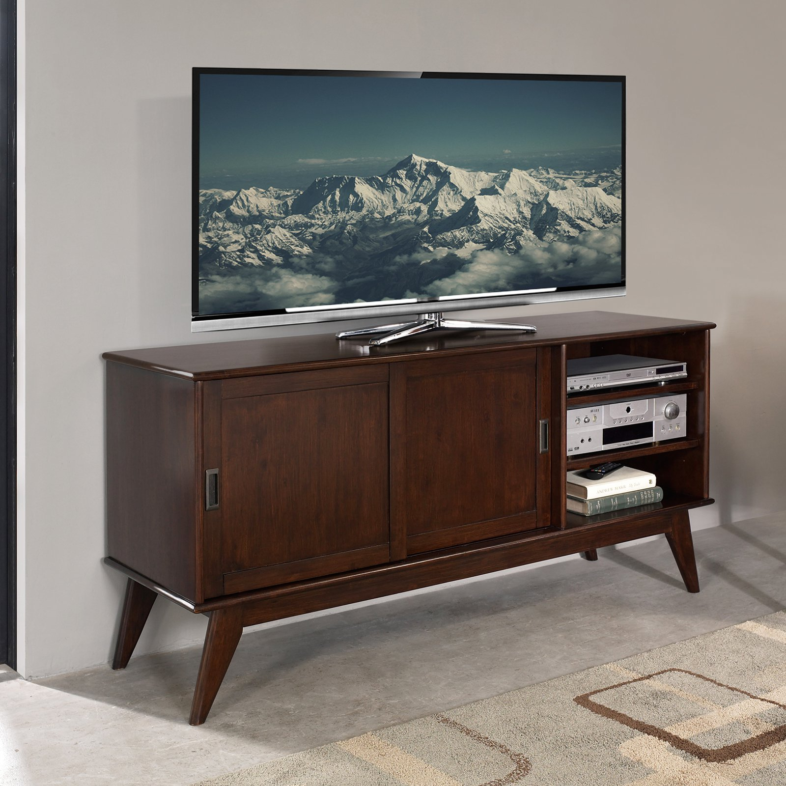 Simpli Home Draper Mid Century Medium Tv Media Stand – Walmart With Regard To Century White 60 Inch Tv Stands (View 5 of 30)