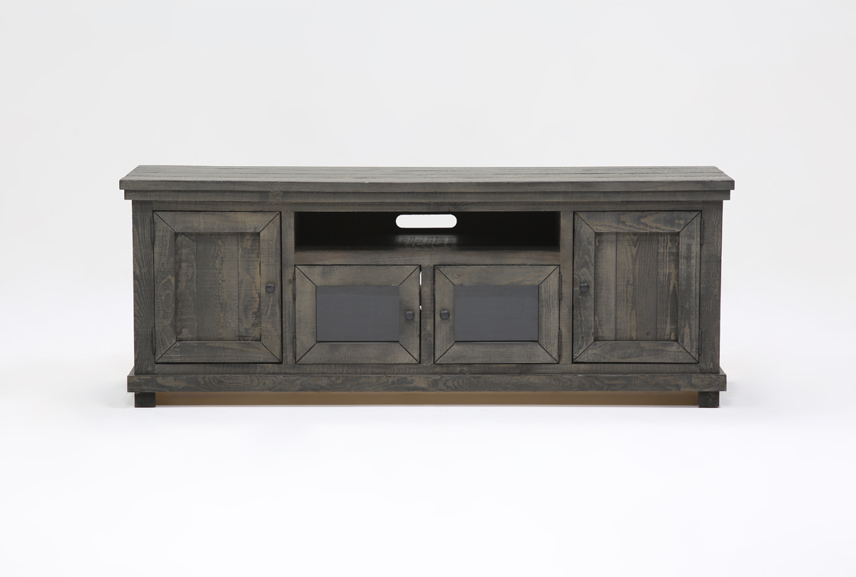 Sinclair Grey 74 Inch Tv Stand | Living Spaces Inside Sinclair White 74 Inch Tv Stands (View 7 of 30)