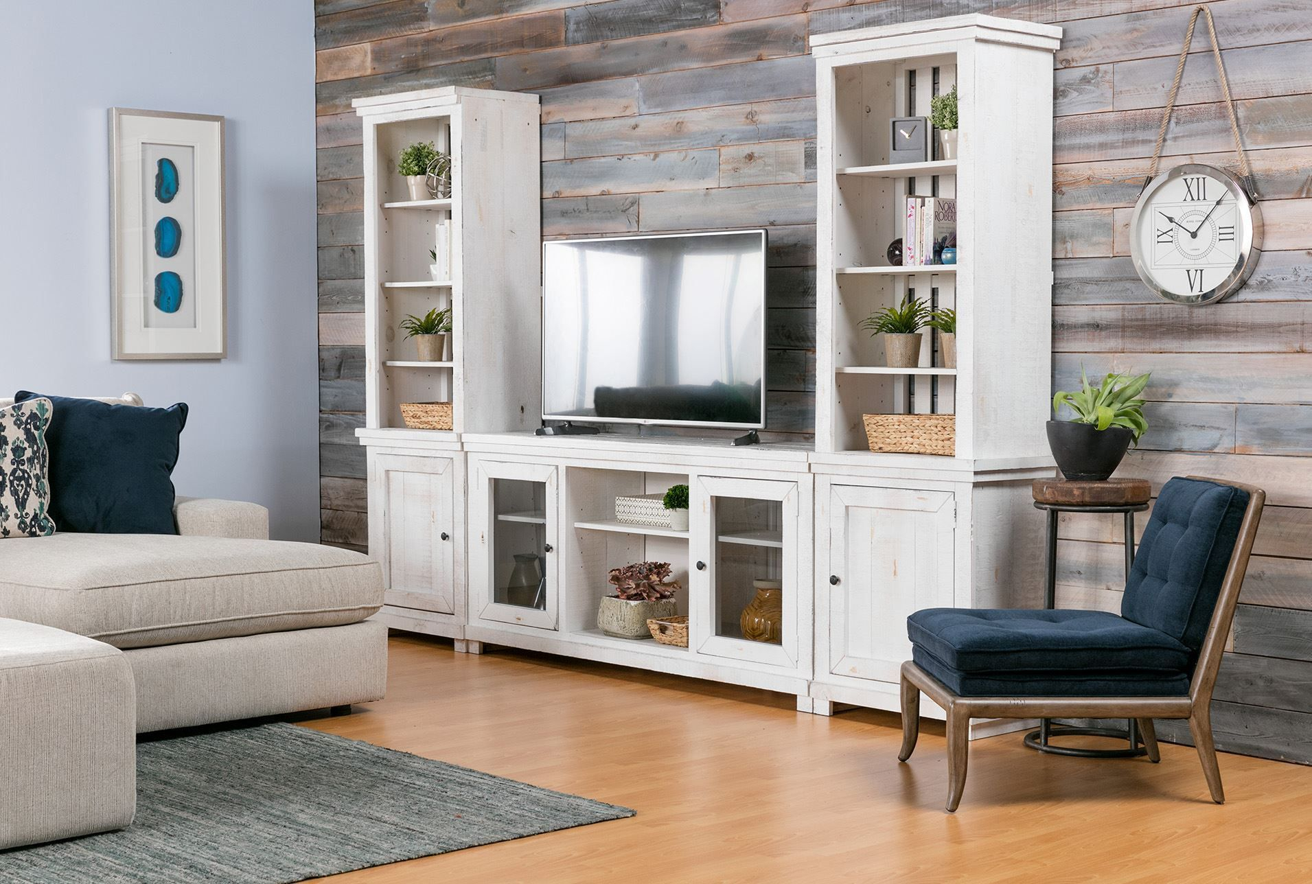 Sinclair White 3 Piece Entertainment Center In 2019 | Products Inside Sinclair Grey 68 Inch Tv Stands (View 7 of 30)