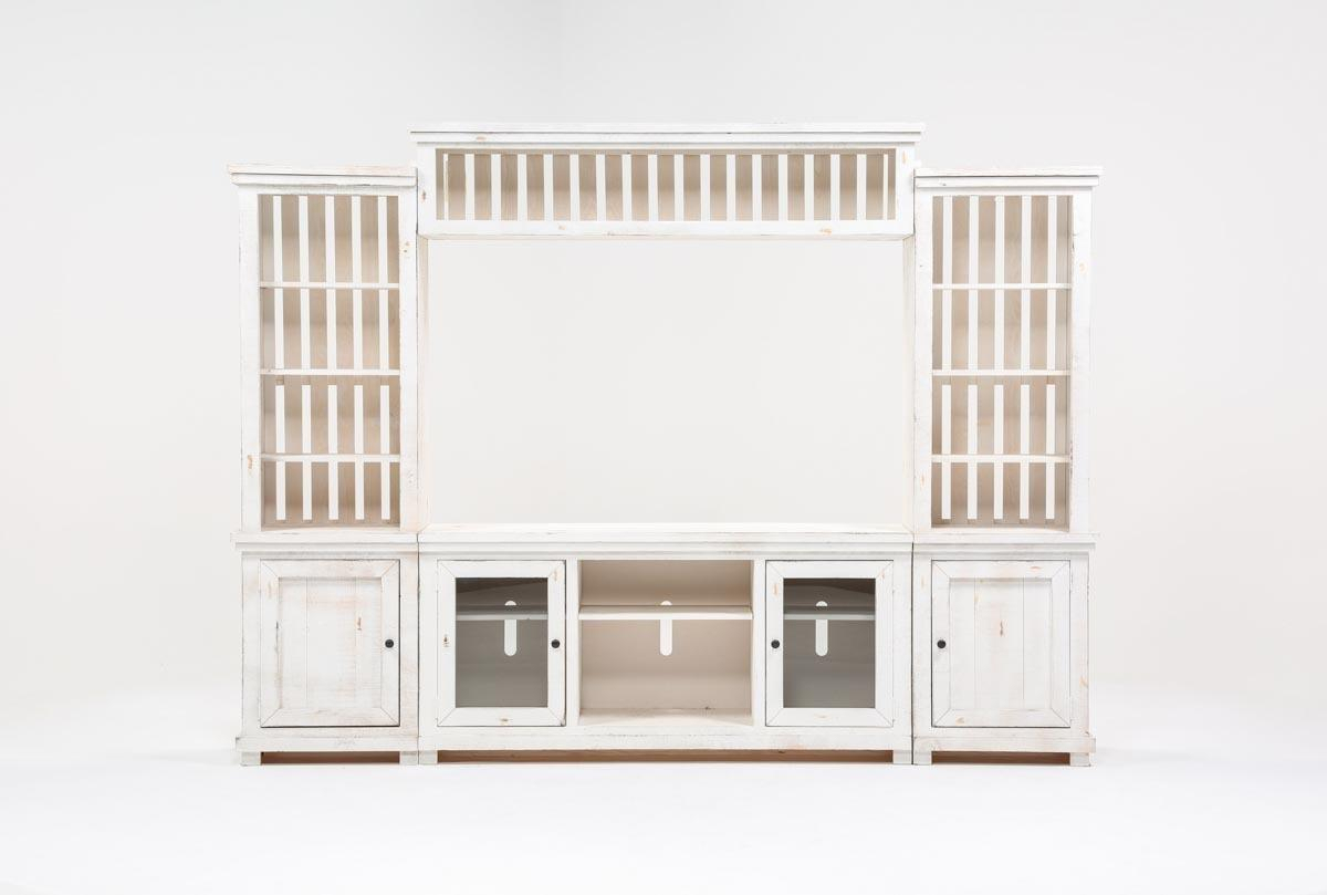 Sinclair White 4 Piece Entertainment Center | Living Spaces With Regard To Sinclair Grey 68 Inch Tv Stands (View 17 of 30)