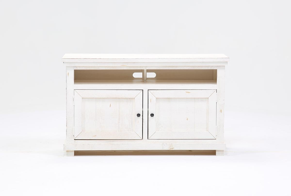 Sinclair White 54 Inch Tv Stand | Living Spaces Regarding Sinclair Blue 54 Inch Tv Stands (View 4 of 30)