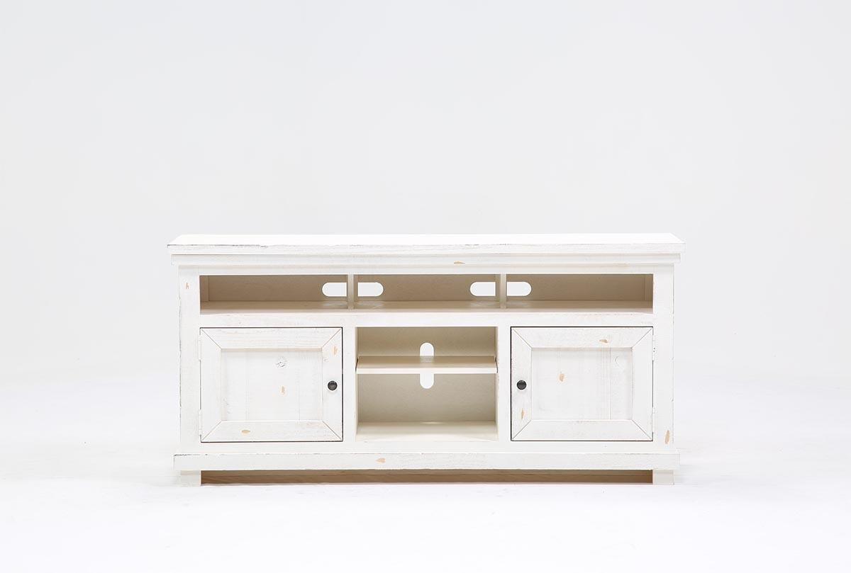 Sinclair White 64 Inch Tv Stand | Living Spaces Inside Sinclair Grey 74 Inch Tv Stands (View 22 of 30)