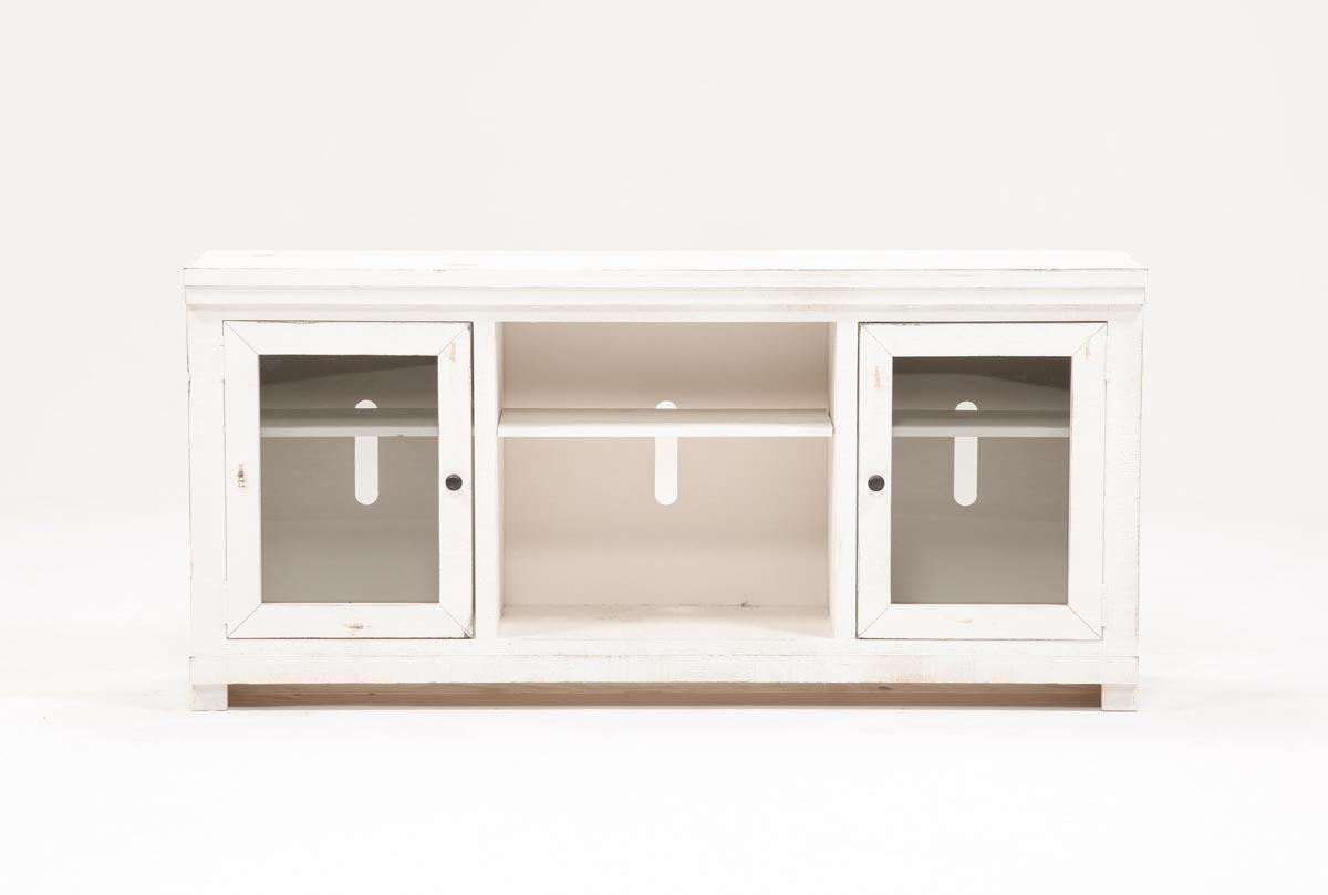 Sinclair White 68 Inch Tv Stand | Living Spaces inside Sinclair Grey 54 Inch Tv Stands (Image 25 of 30)