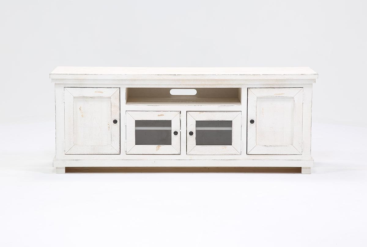 Sinclair White 74 Inch Tv Stand | Living Spaces With Regard To Sinclair Blue 54 Inch Tv Stands (View 6 of 30)