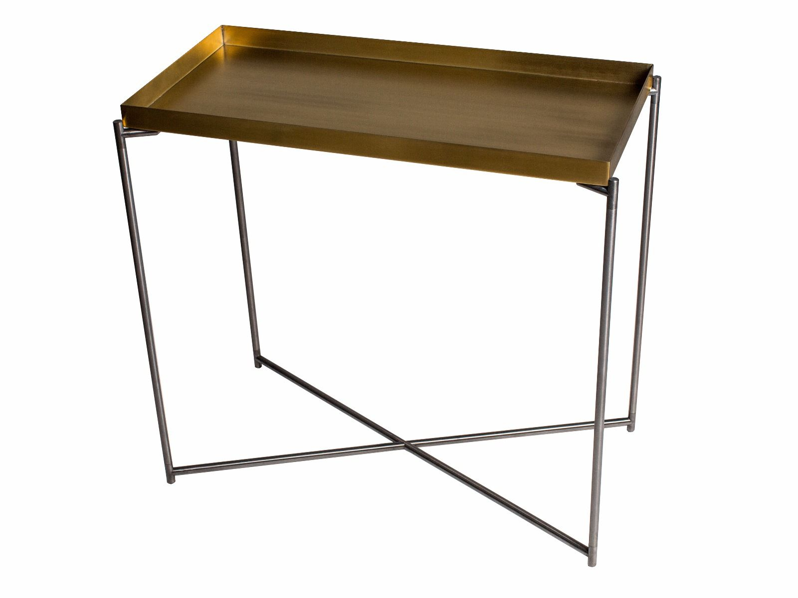 Small Console Table Tray Top Brass With Gun Metal Frame | Collection With Frame Console Tables (View 14 of 30)