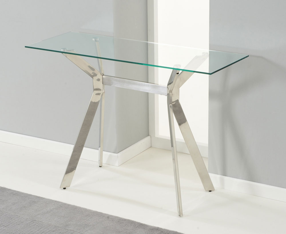 Small Glass Console Table : Console Table – Glass Console Table With Regard To Elke Glass Console Tables With Brass Base (View 11 of 30)