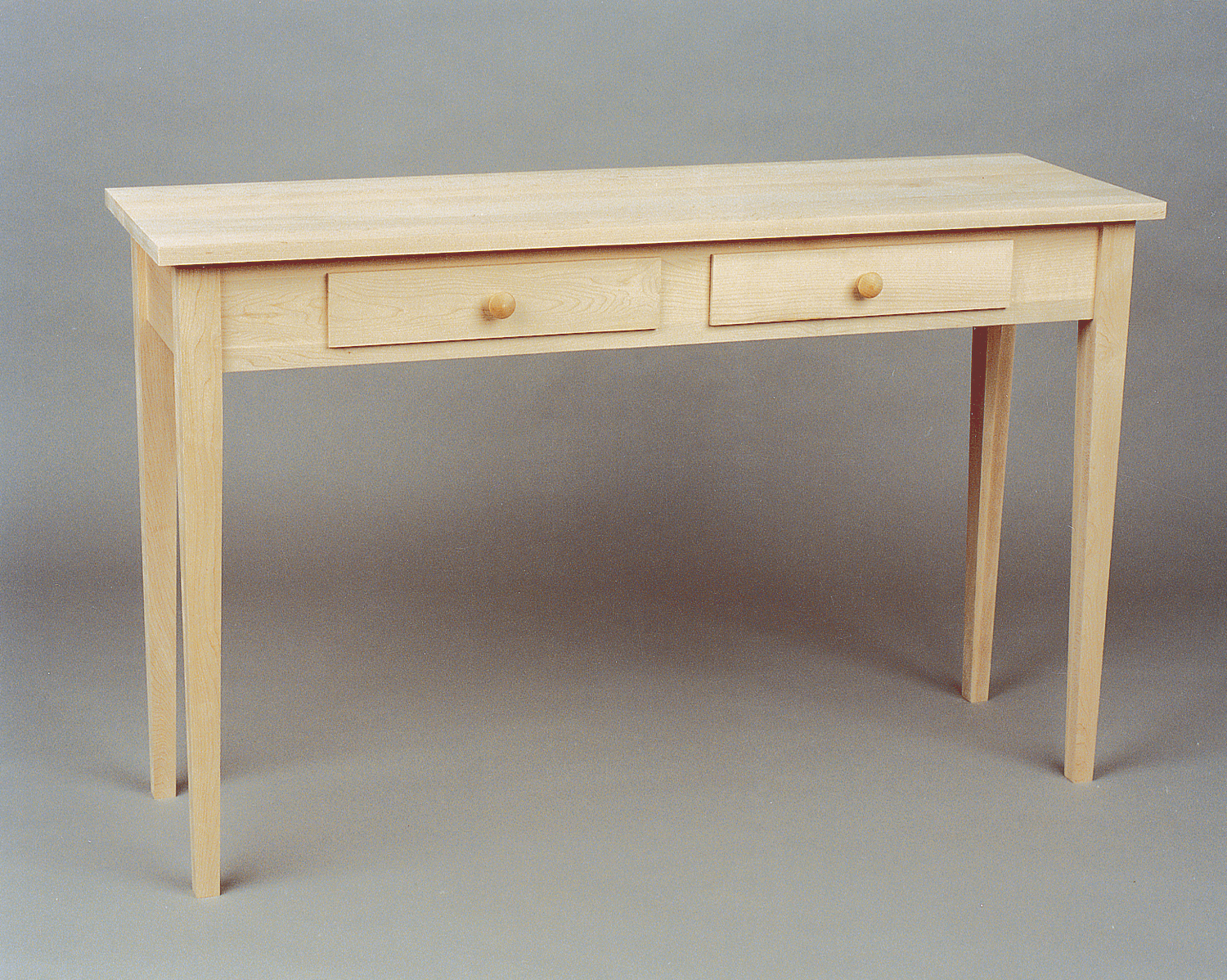 Sofa Table Drawers Maple Shaker Unfinished Wood End Tables Ethan In Ethan Console Tables (View 18 of 30)