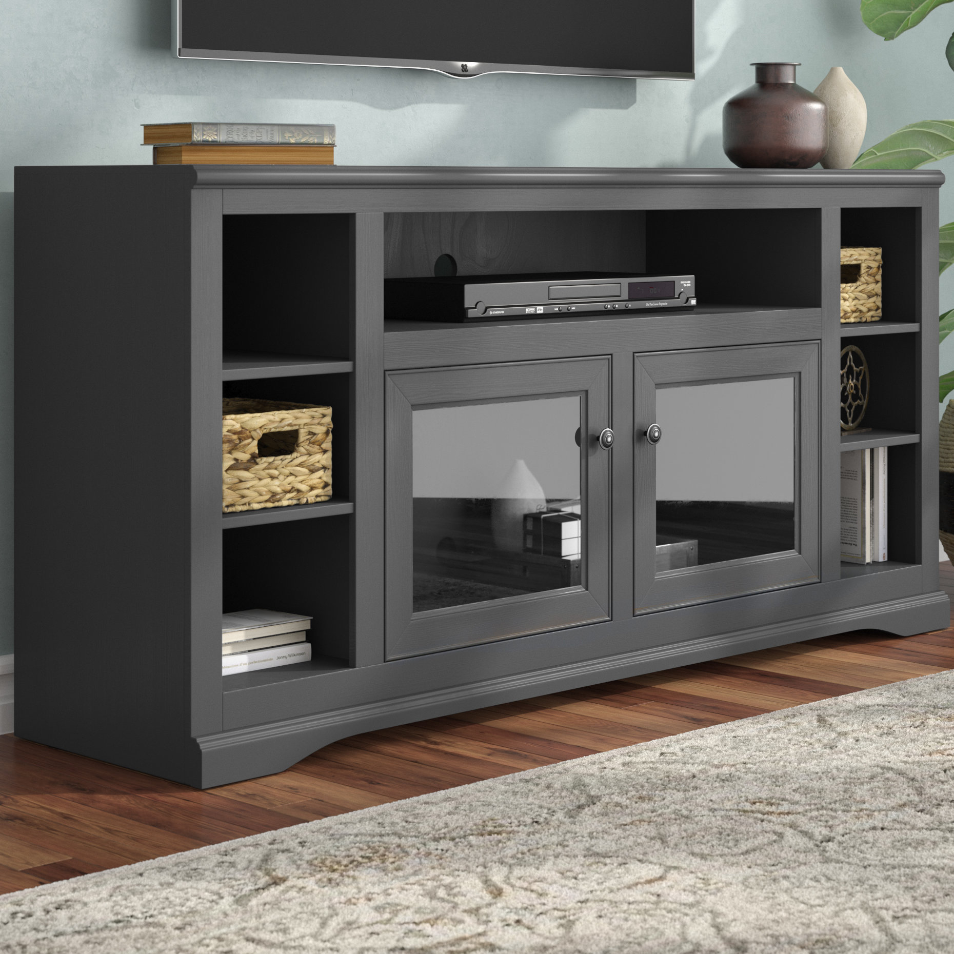 Solid Wood Tv Stand Tv Stands & Entertainment Centers You'll Love Regarding Edwin Grey 64 Inch Tv Stands (View 10 of 30)