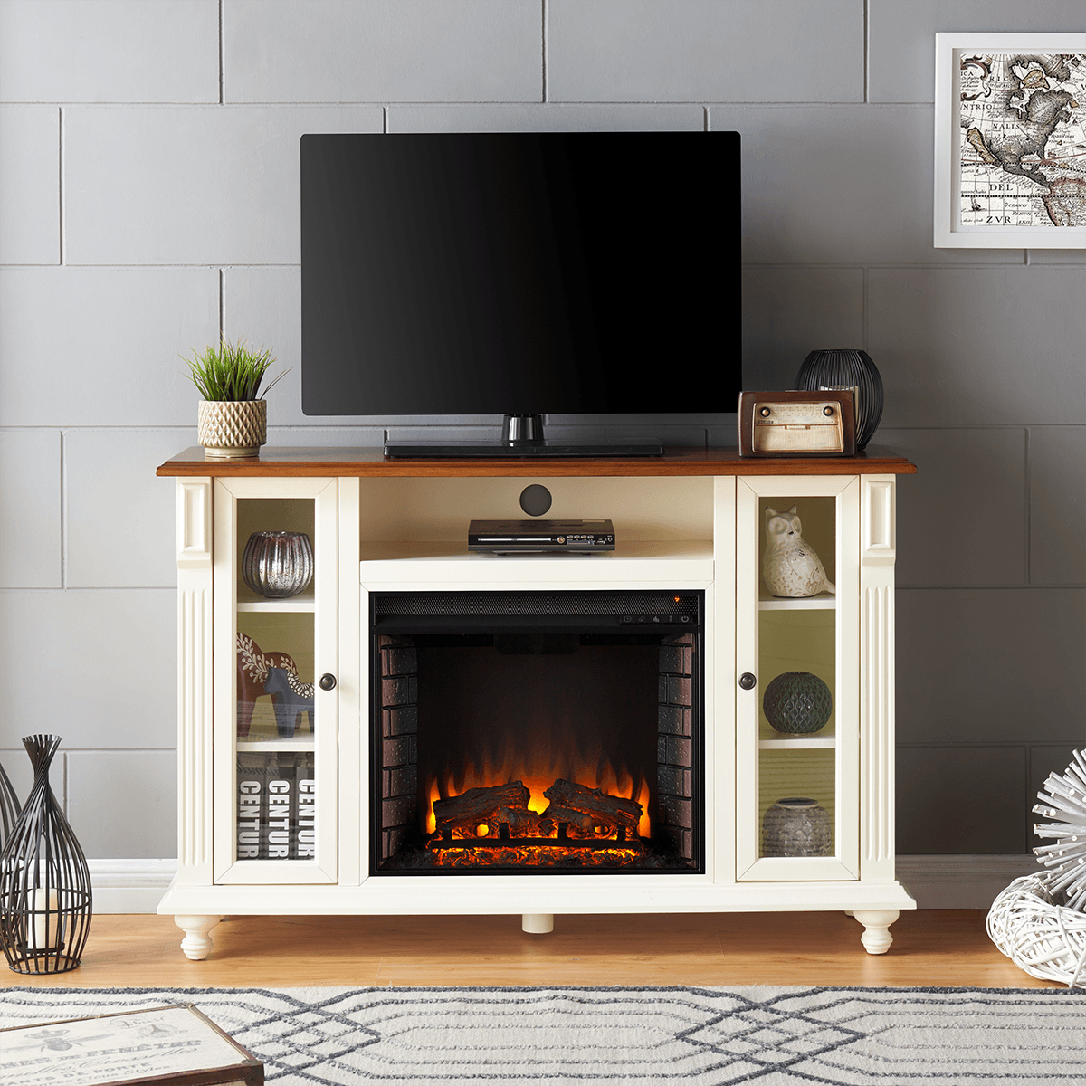 Southern Enterprises Carlinville Electric Fireplace Tv Stand | Sylvane intended for Canyon 74 Inch Tv Stands (Image 18 of 30)