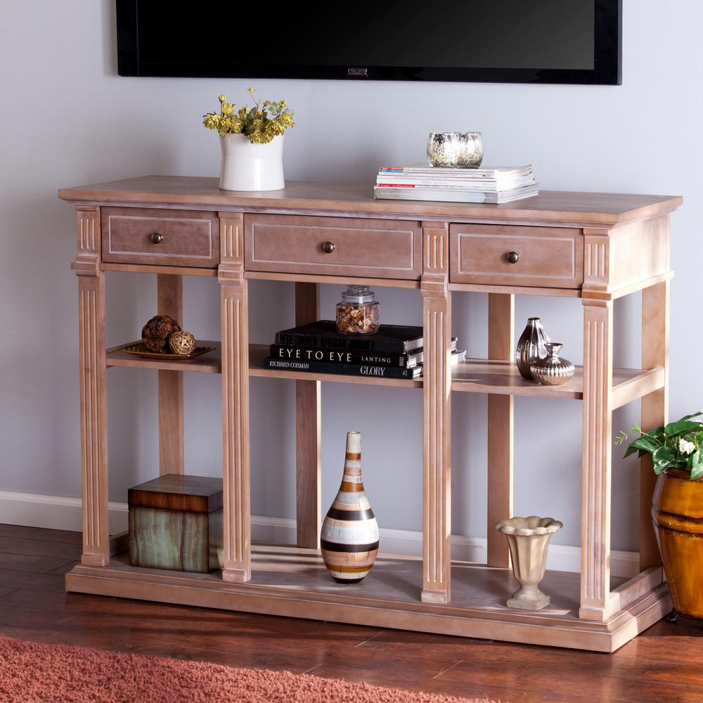 Southern Enterprises Crispin Weathered Natural Entertainment Center in Natural Wood Mirrored Media Console Tables (Image 26 of 30)