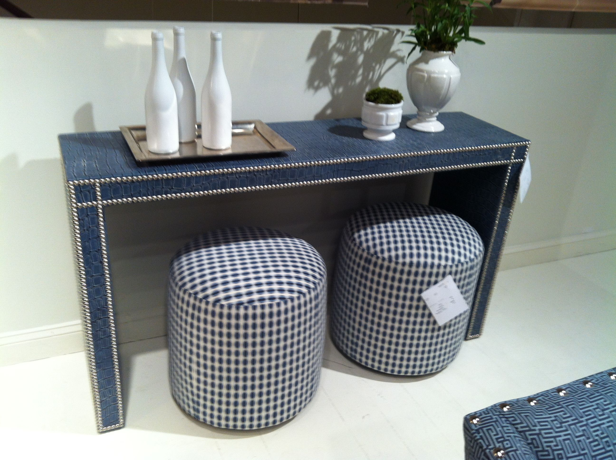 Speaking Of Upholstered, How Fun Is This Fully Upholstered Console Pertaining To Parsons Clear Glass Top & Elm Base 48x16 Console Tables (View 14 of 30)