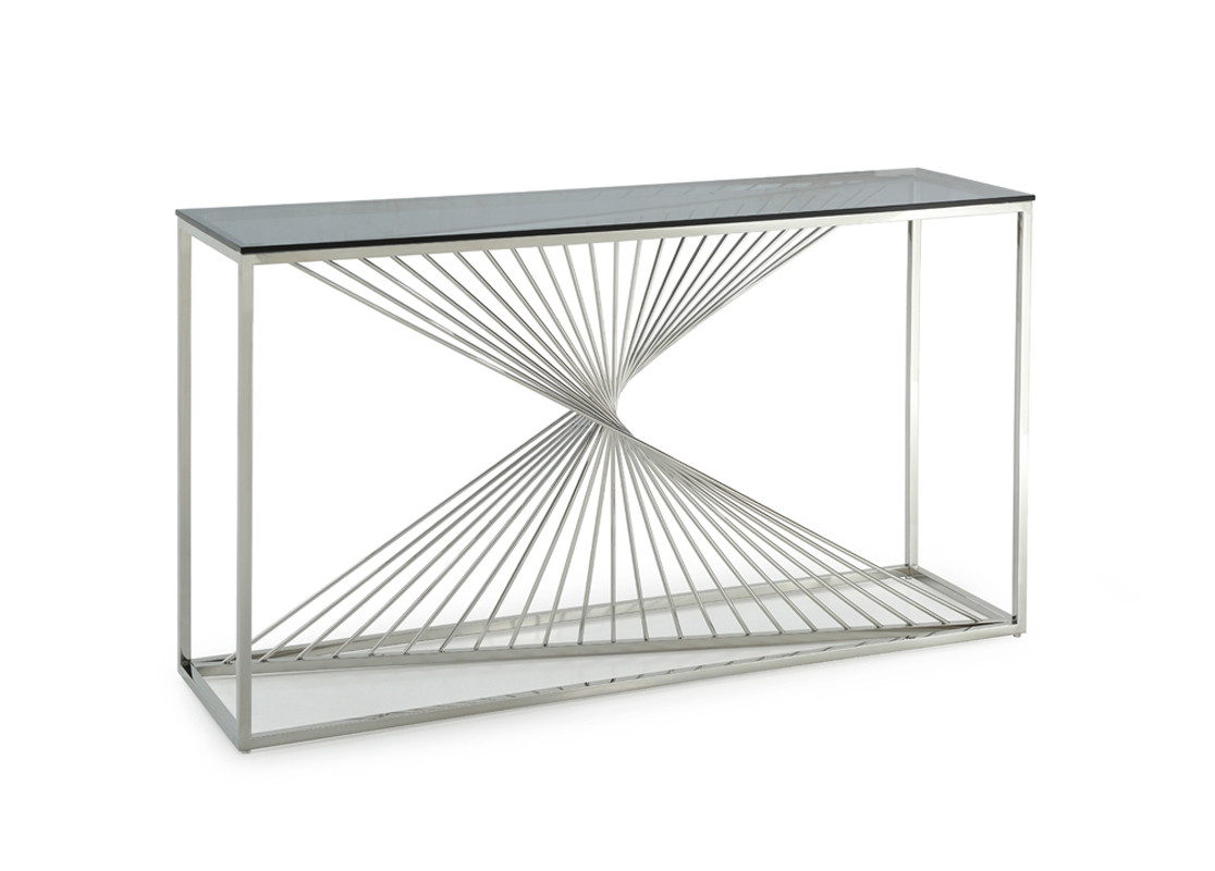 Stainless Steel Sofa Table – Home And Textiles With Regard To Parsons Clear Glass Top & Stainless Steel Base 48x16 Console Tables (View 18 of 30)