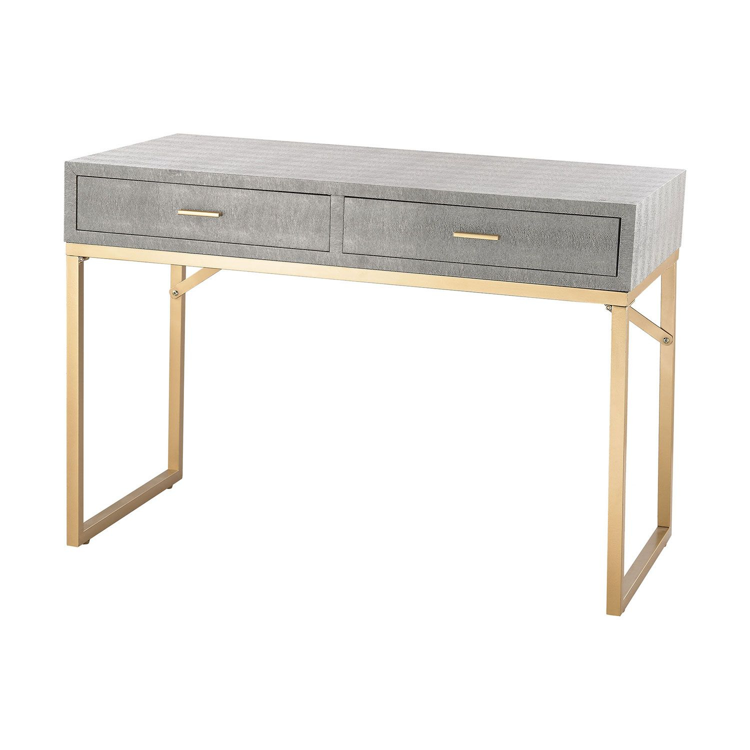 Sterling Industries Beaufort Gold Grey Desk | Orc Office | Desk inside Mix Agate Metal Frame Console Tables (Image 29 of 30)