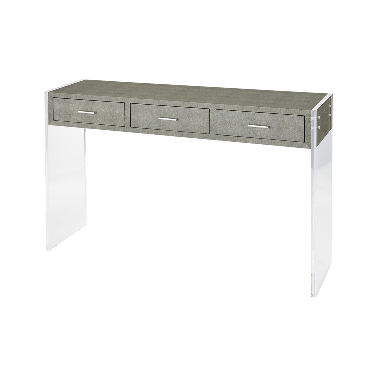 Sterling Industries Monaco Grey Faux Shagreen And Clear Acrylic 48 Inch Console Table Pertaining To Grey Shagreen Media Console Tables (View 9 of 30)