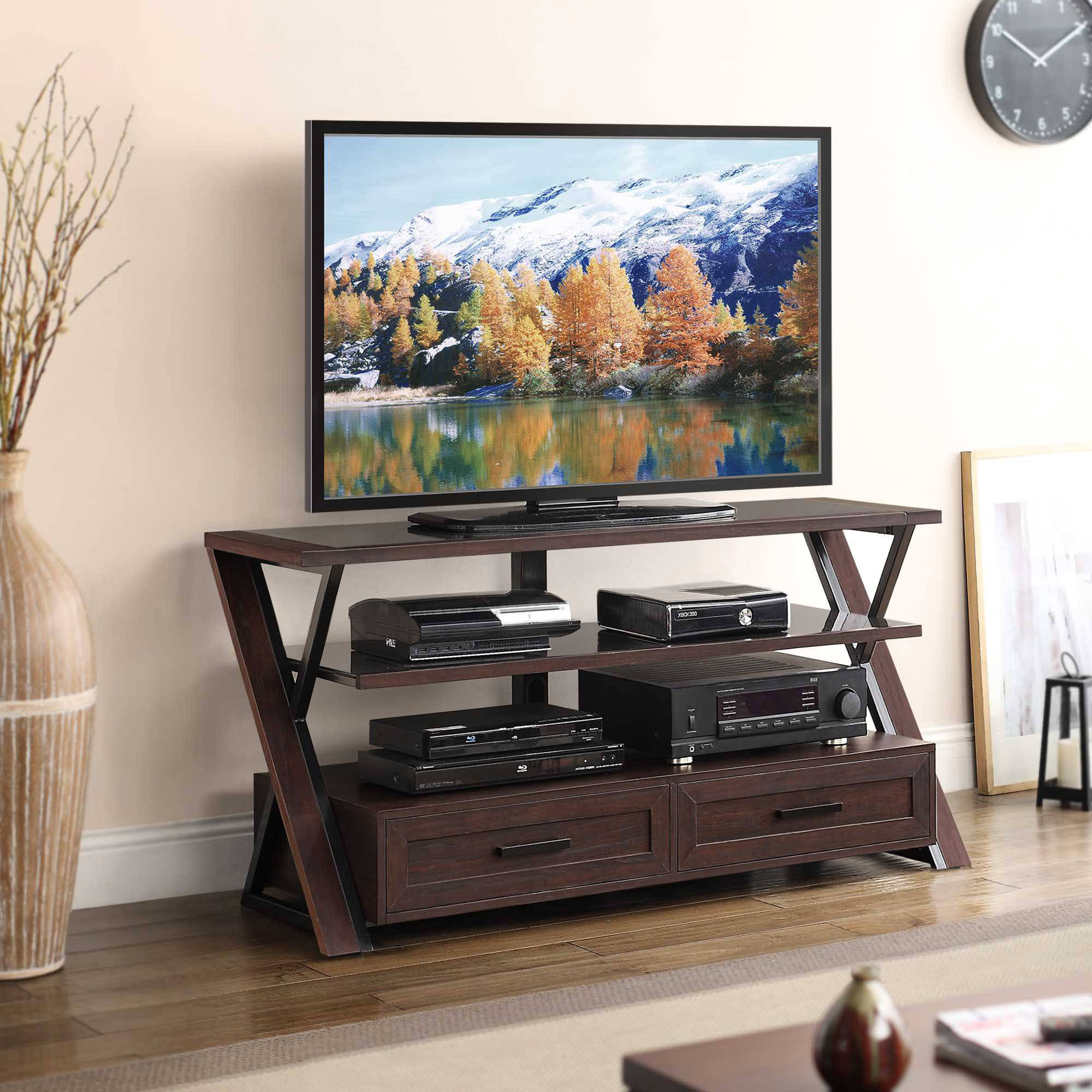 "Stinson Brown Flat Panel Tv Console For Tvs Up To 60"" – Walmart With Jaxon 71 Inch Tv Stands (View 15 of 30)"