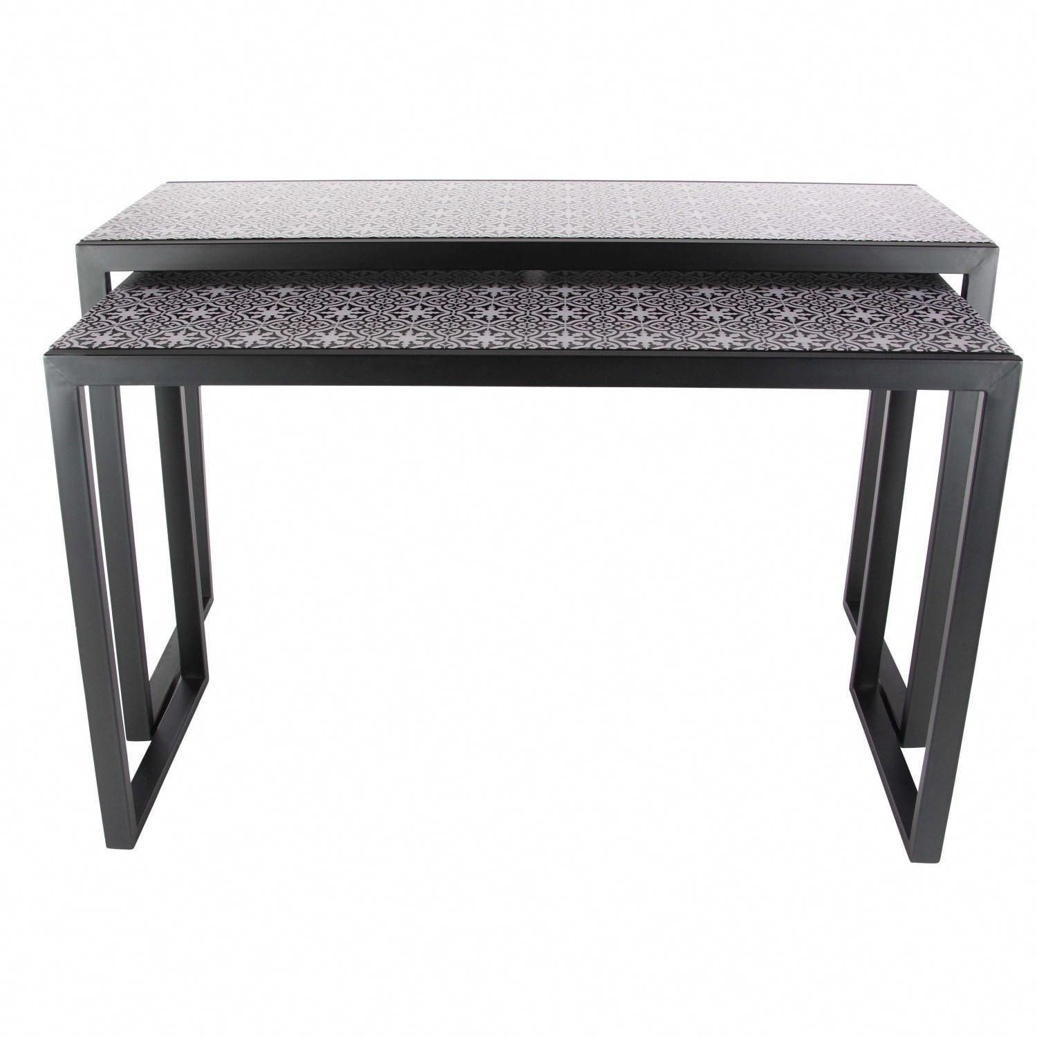 Studio 350 Metal Wood, White Console Table Set Of 2 Intended For Balboa Carved Console Tables (View 7 of 30)
