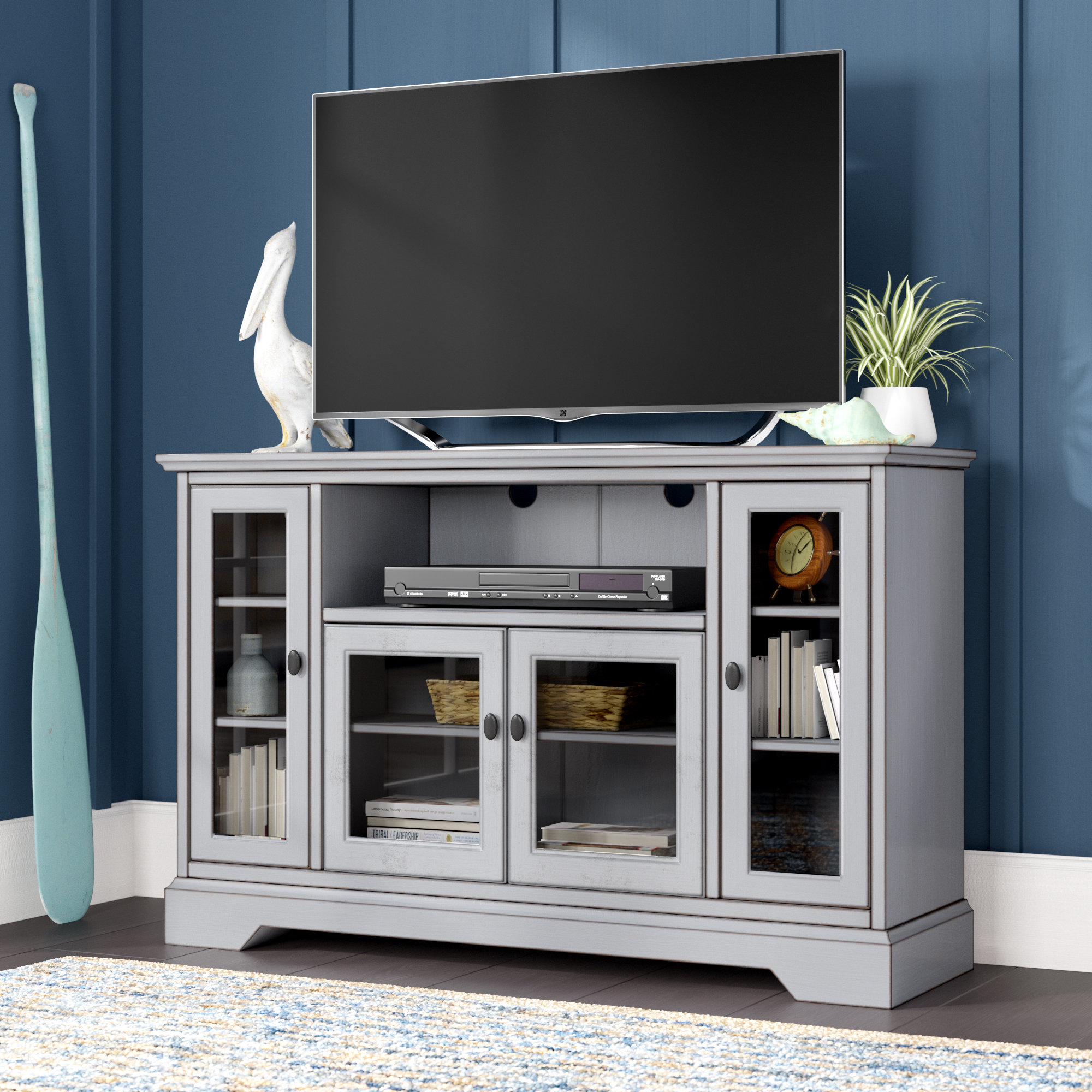Tall Narrow Tv Stand | Wayfair Throughout Edwin Grey 64 Inch Tv Stands (View 6 of 30)