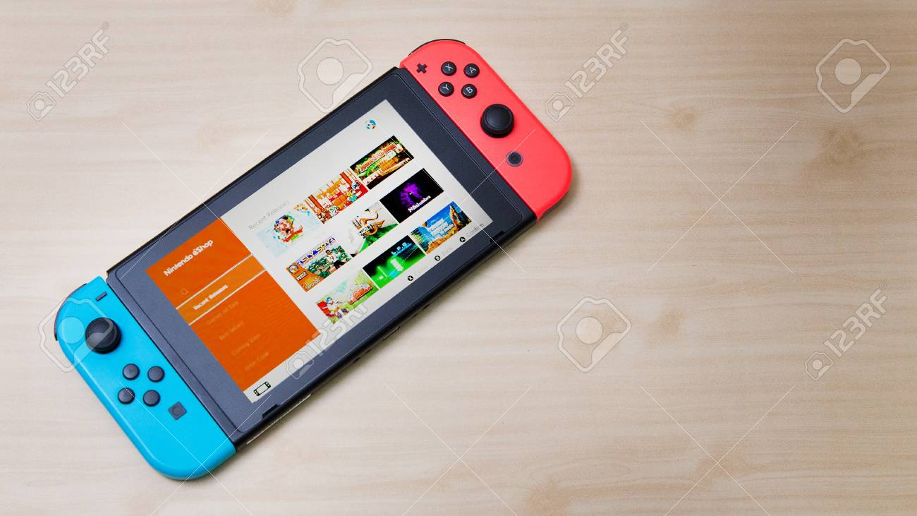 Thailand , Bangkok – May 7, 2018 A Nintendo Switch Game Console. (View 20 of 30)