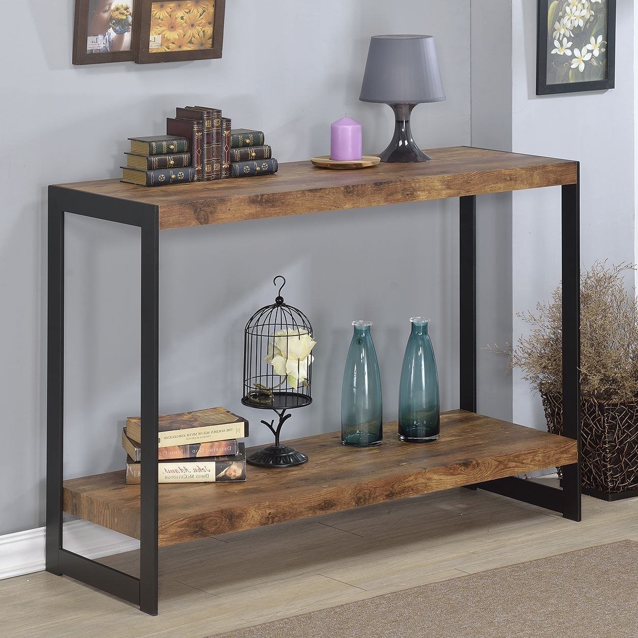 The Industrial Console Table Features A Rustic Wood Finish Laminite throughout Yukon Grey Console Tables (Image 25 of 30)