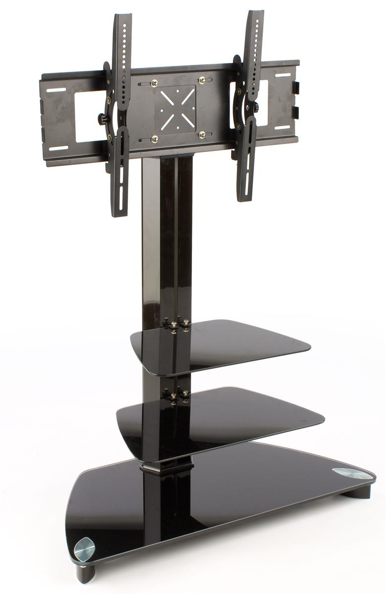The Tv Stand Tv Cart Plus To Screen Vivous To Pretty Black Glass with regard to Annabelle Black 70 Inch Tv Stands (Image 24 of 30)