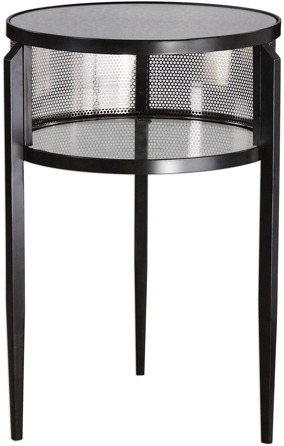 This Drum Style Accent Table Is Finished In Aged Black Iron With Intended For Gunmetal Perforated Brass Media Console Tables (View 22 of 30)