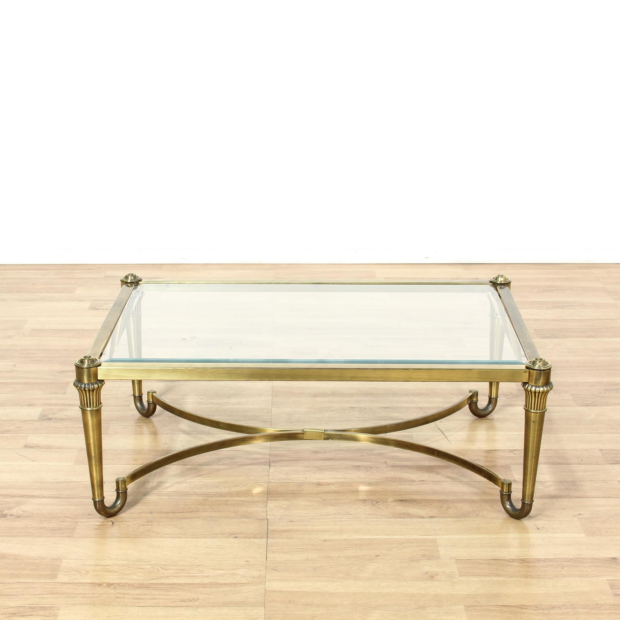 This Hollywood Regency Coffee Table Is Featured In A Durable Metal Intended For Elke Glass Console Tables With Brass Base (View 8 of 30)