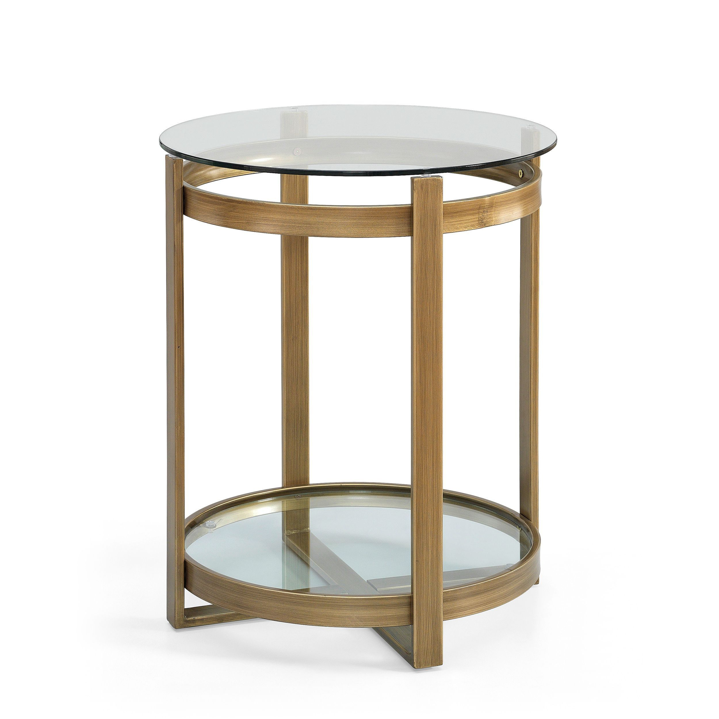 This Retro Glitz Glass And Metal End Table Is A Throwback To The Inside Era Glass Console Tables (View 14 of 30)