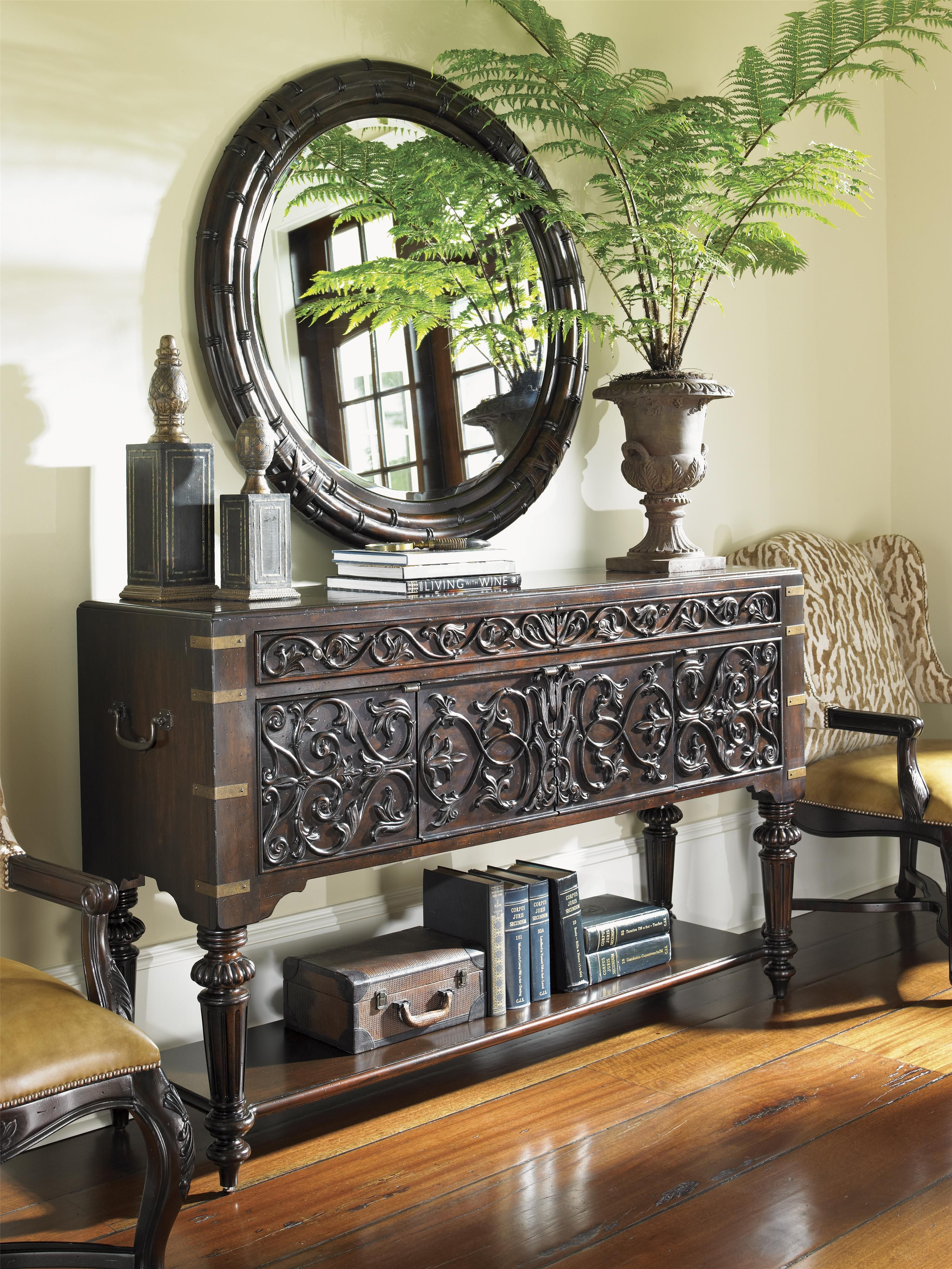 Tommy Bahama Home Island Traditions Traditional Mercer Sideboard With Regard To Balboa Carved Console Tables (View 20 of 30)