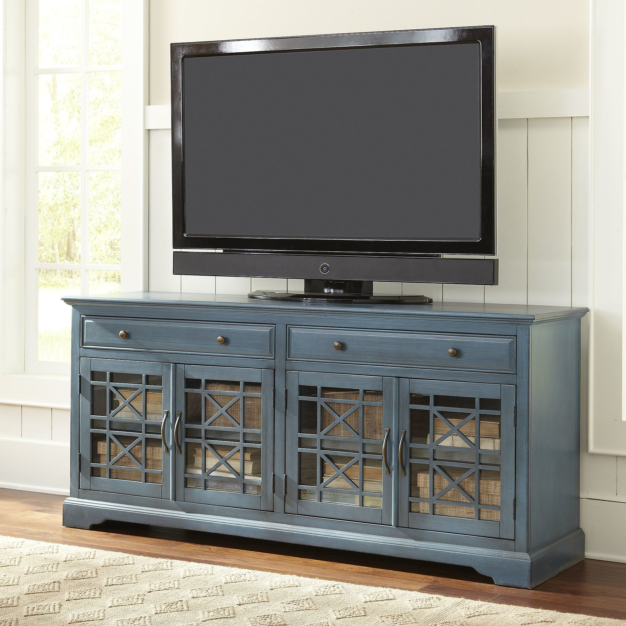 Traditional Tv Stand With 2 Pullout Drawers And Tempered Glass And with Annabelle Blue 70 Inch Tv Stands (Image 19 of 30)
