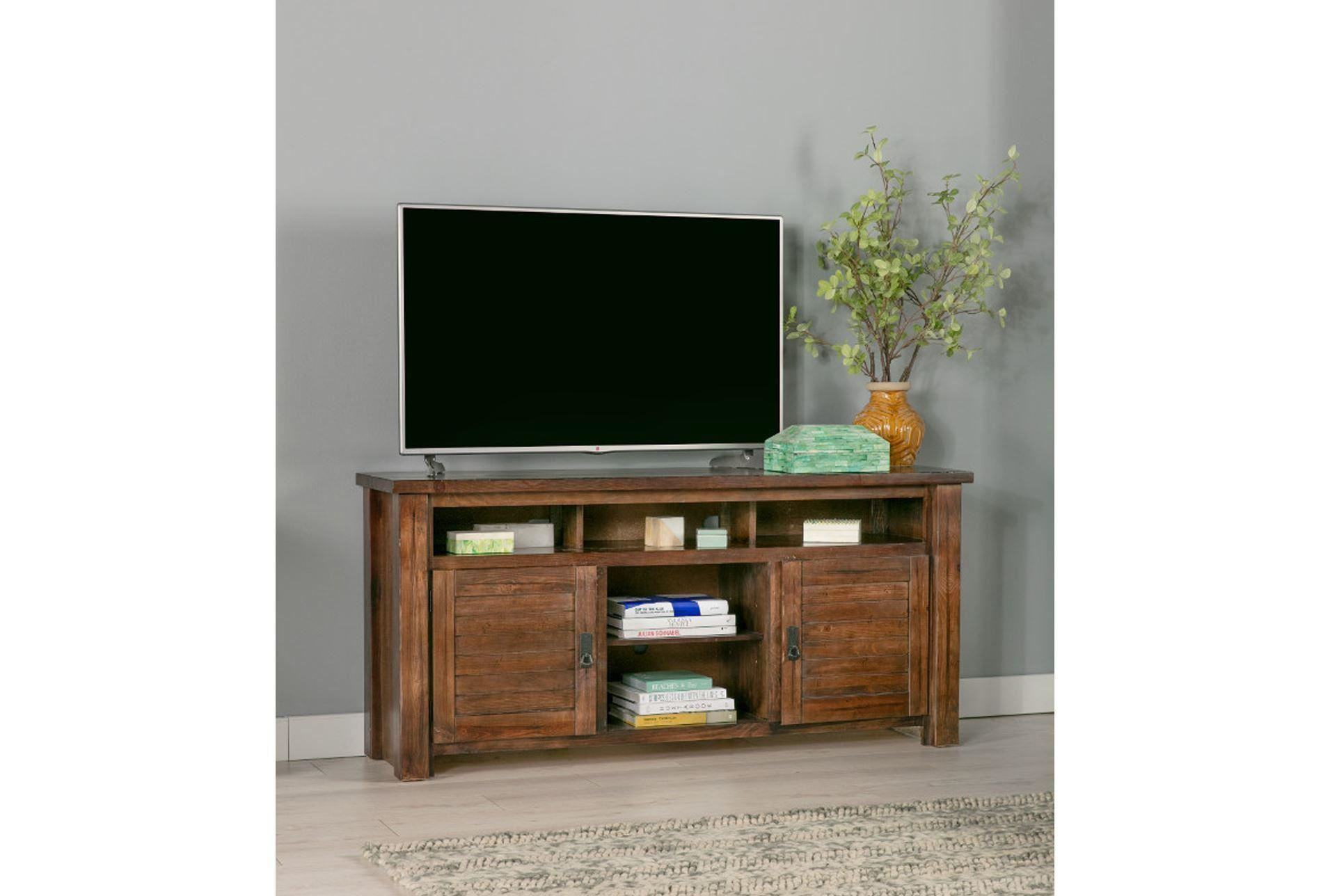 Trendy Canyon 74 Inch Tv Stand Living Spaces Tv Stand In Sinclair Blue 64 Inch Tv Stands (View 13 of 30)