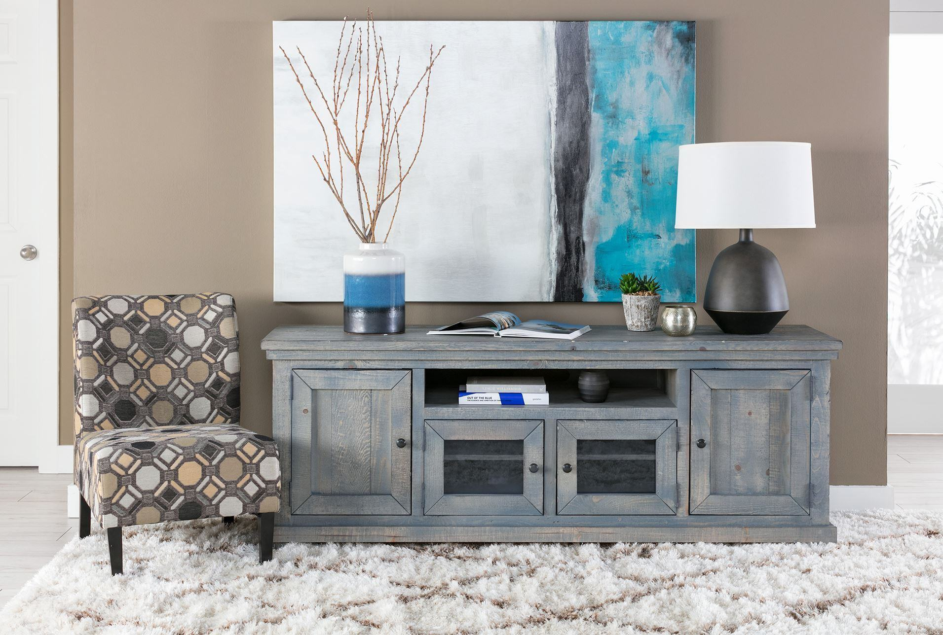 Trendy Canyon 74 Inch Tv Stand Living Spaces Tv Stand Throughout Sinclair Blue 64 Inch Tv Stands (View 22 of 30)