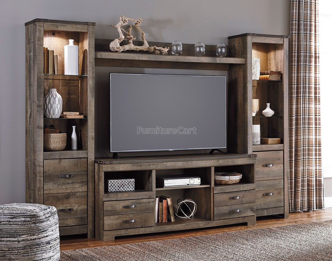 Trinell Entertainment Wall | Home Decor | Pinterest | Entertainment for Marvin Rustic Natural 60 Inch Tv Stands (Image 26 of 30)