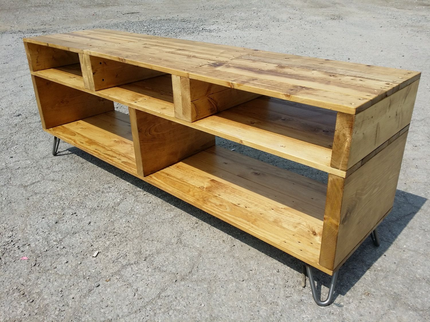 Tv Console Reclaimed Pallet Wood Media Standsonofawoodcutter intended for Marvin Rustic Natural 60 Inch Tv Stands (Image 27 of 30)