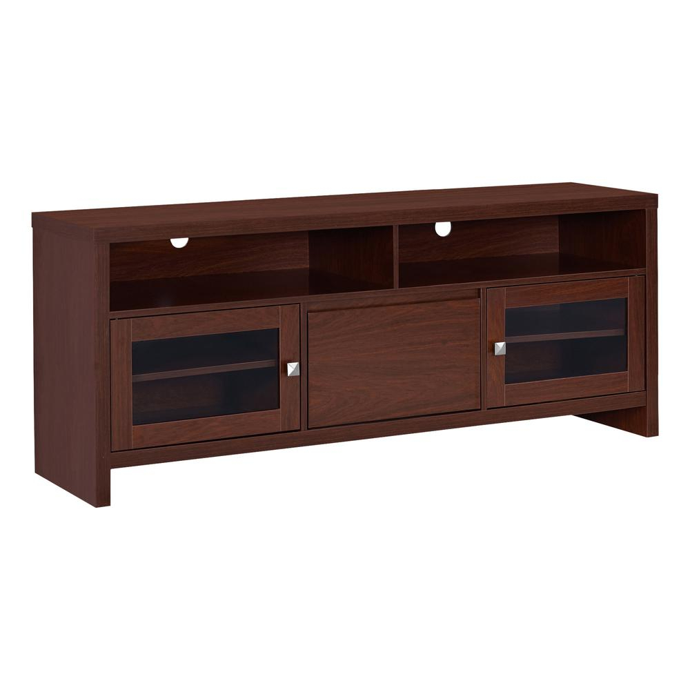 "Tv Stand – 60""l / Warm Cherry With Glass Doors With Regard To Rowan 74 Inch Tv Stands (View 13 of 30)"