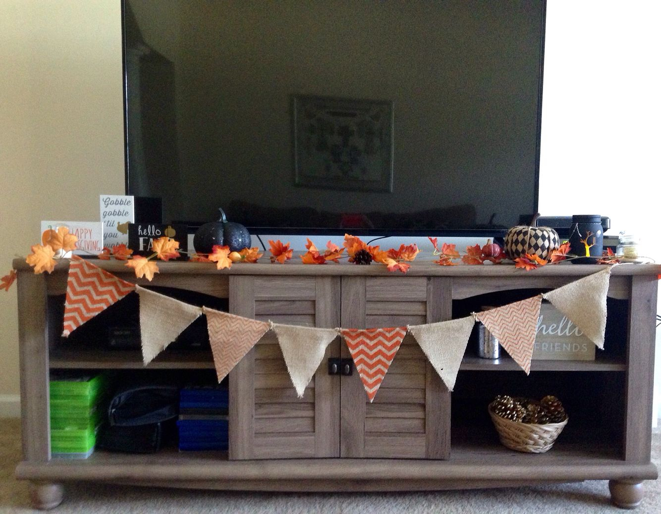 Tv Stand Fall Decor | Autumn | Fall Decor, Fall Home Decor, Fall inside Maddy 70 Inch Tv Stands (Image 30 of 30)