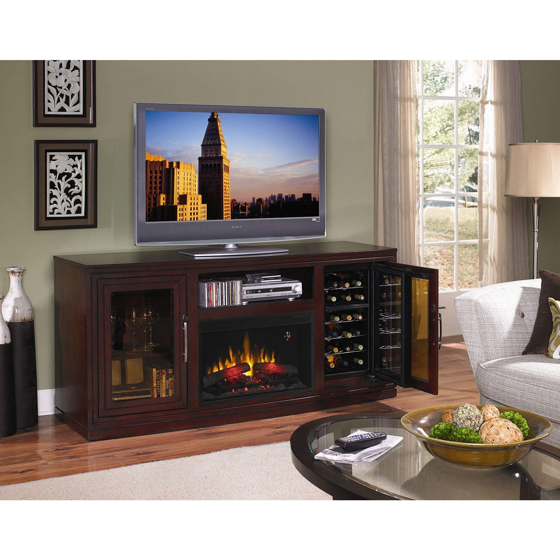Tv Stand, Fireplace, Wine Rack | For The Home In 2019 | Pinterest In Kenzie 72 Inch Open Display Tv Stands (View 14 of 30)