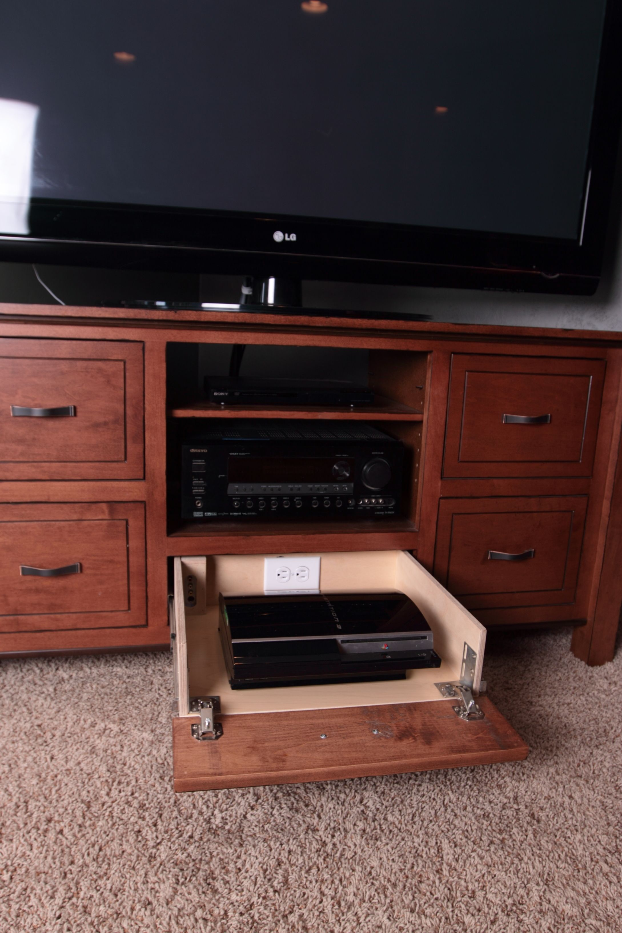 Tv Stand With Game Console Pullout | Kp Custom Woodwork (View 7 of 30)